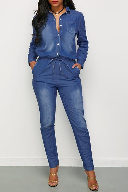 Button Draestring Long Sleeve Denim Jumpsuit