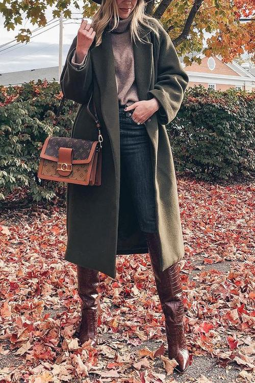 Army Green Lapel Woolen Coat