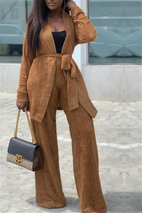 Fuzzy Belted Loose Cardigan Pants Set