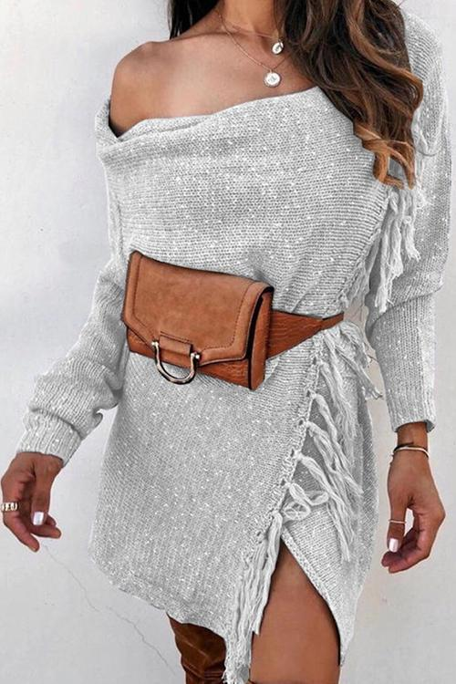 Tassels Dew Shoulder Cardigan