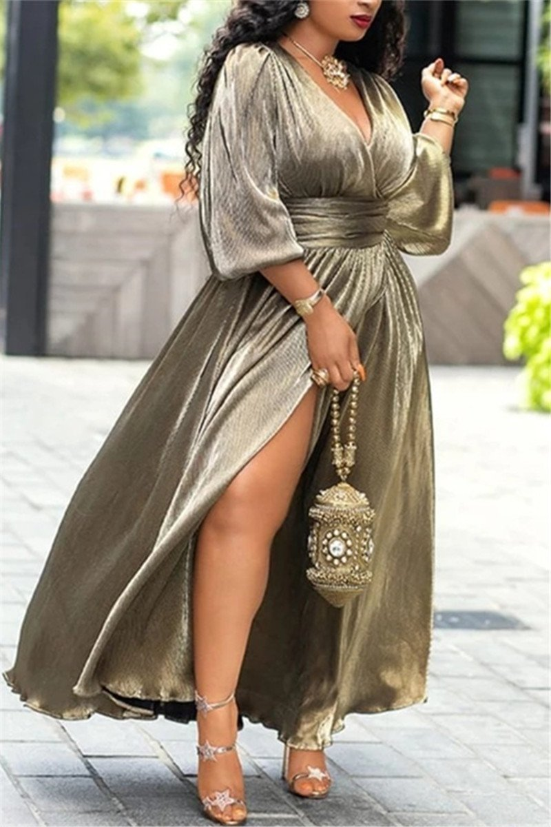 V Neck Solid Color Slit Maxi Dress