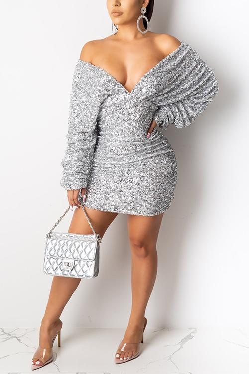 Sequin V Neck Backless Mini Dress
