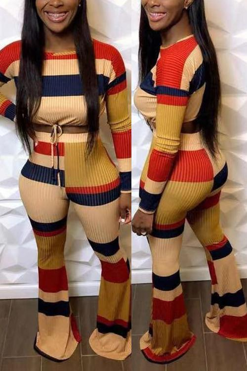 Color Block Drawstring Crop Pants Set