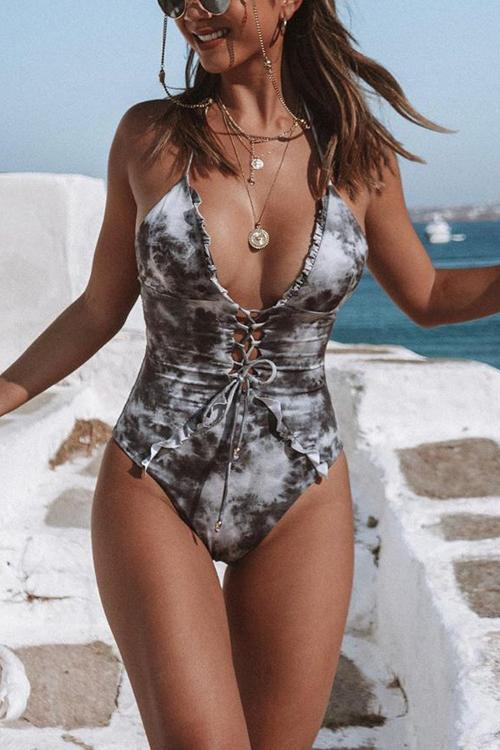 Tie Dye Lace Up One Piece Swimwear