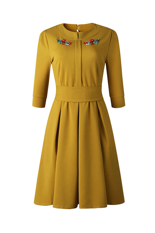 Embroidery O Neck Dress