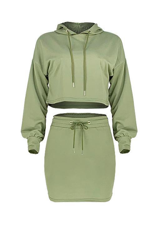Drawstring Hoodie Mini Skirts Set