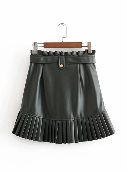 Pleated Belted PU Skirts
