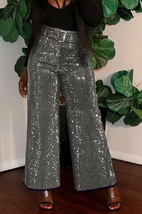 Sparkling Bleted Wide Leg Pants