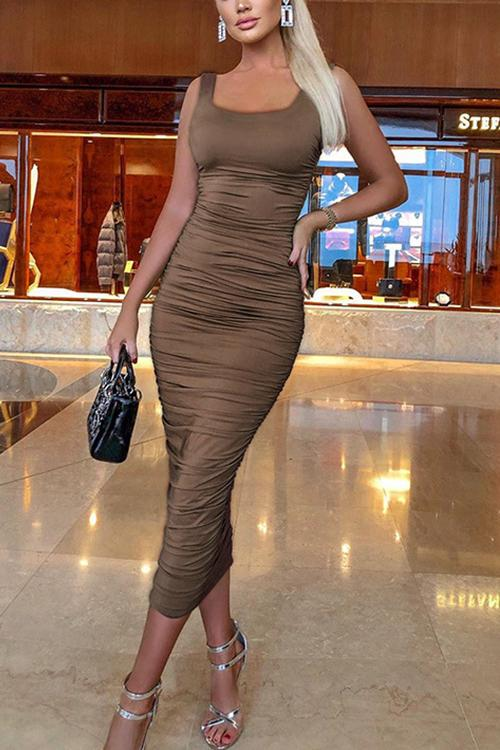 Square Neck Sleeveless Bodycon Dress
