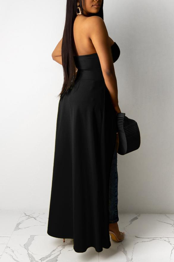 Solid Strapless Asymmetric Top