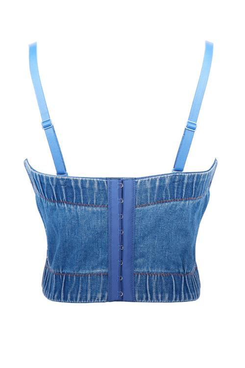 Rhinestone Elastic Denim Top