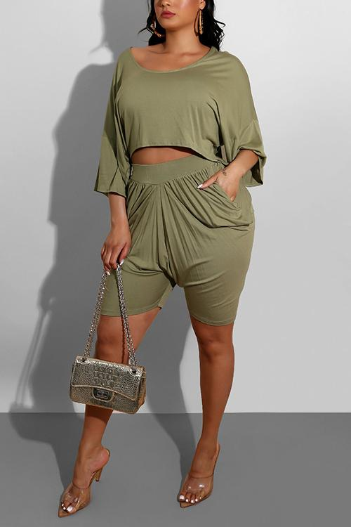 Pleated Loose T Shirt Shorts Set