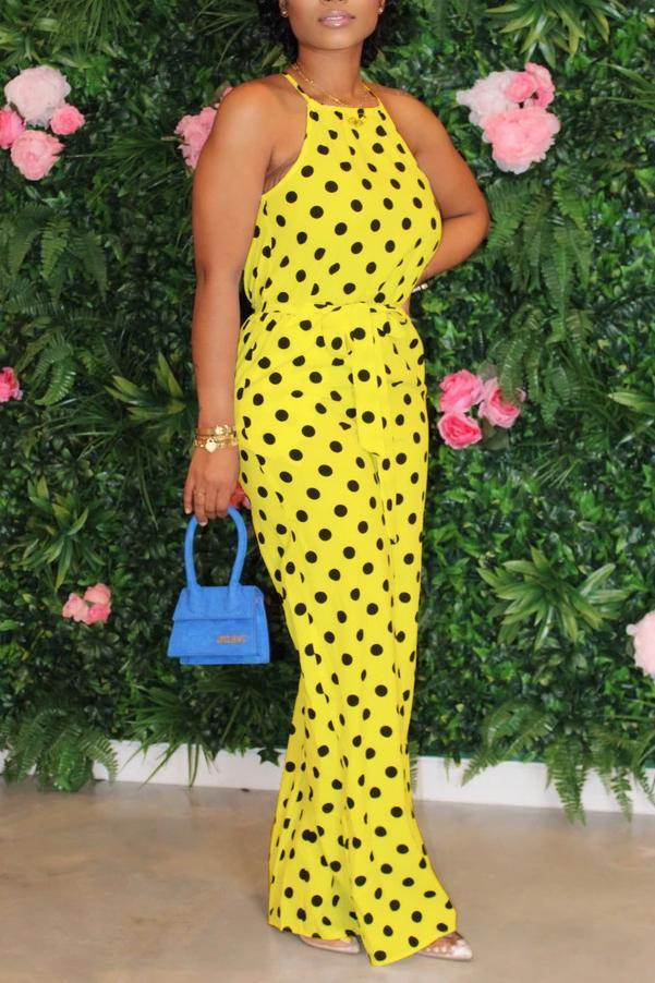 Polka Dot Backless Slip Jumpsuit