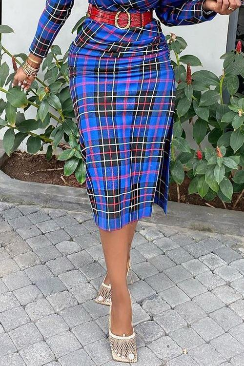 Plaid Side Slit Skirts