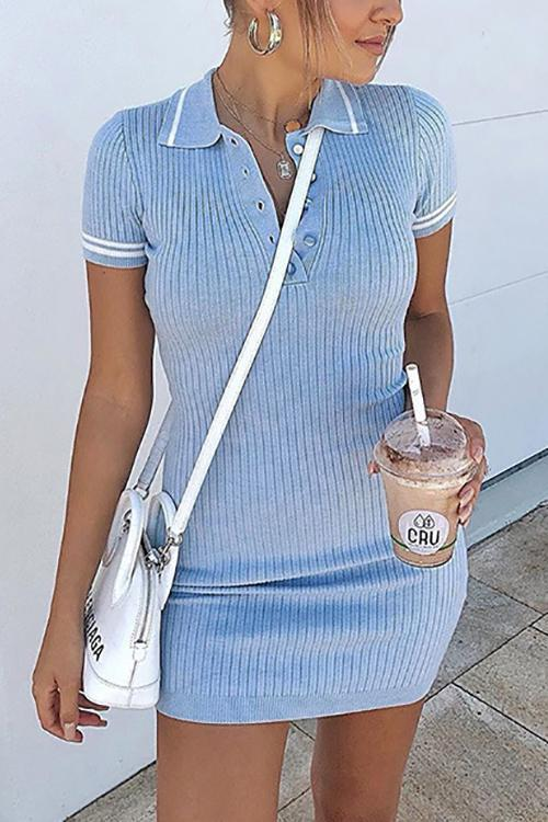 Stripe Short Sleeve Polo Mini Dress