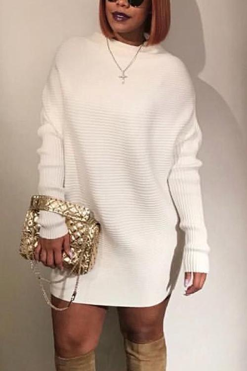 High Collar Mini Sweater Dress