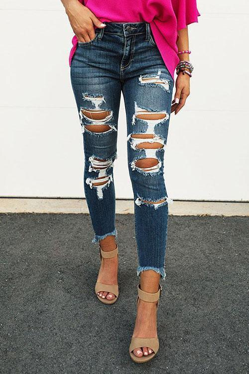 Stretch Ripped Skinny Jeans