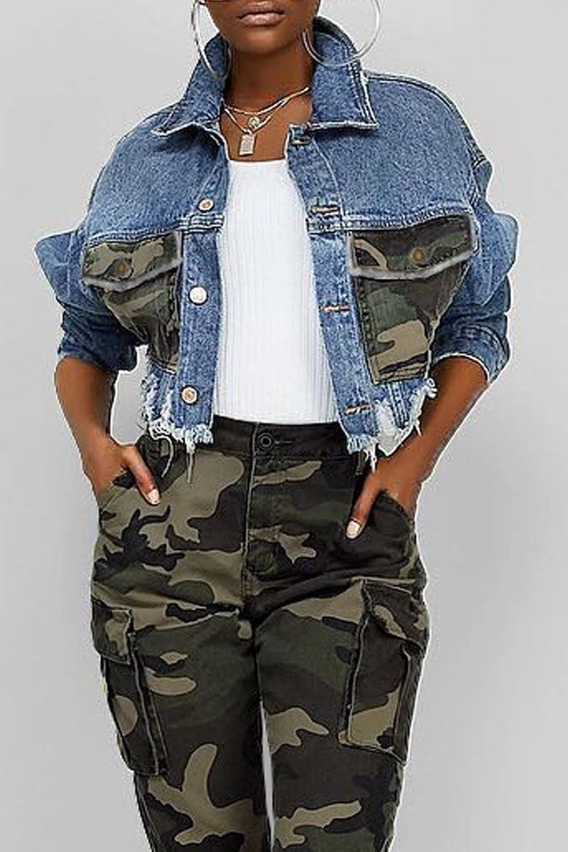 Camouflage Printed Distressed Denim Jacket