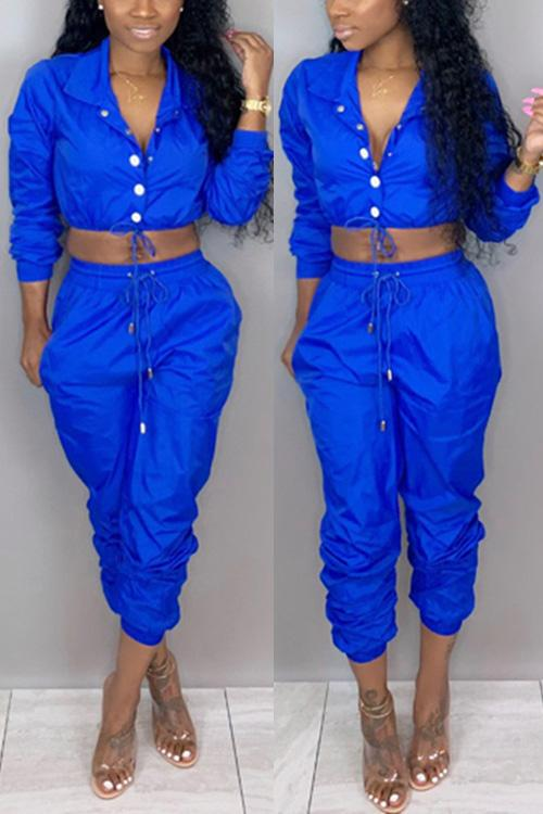 Drawstring Button Long Sleeve Crop Pants Set
