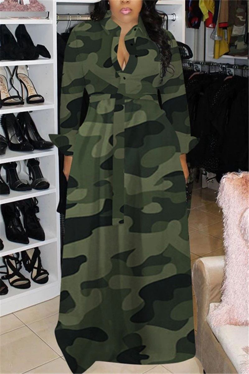 Camouflage Print Long Sleeve Maxi Dress