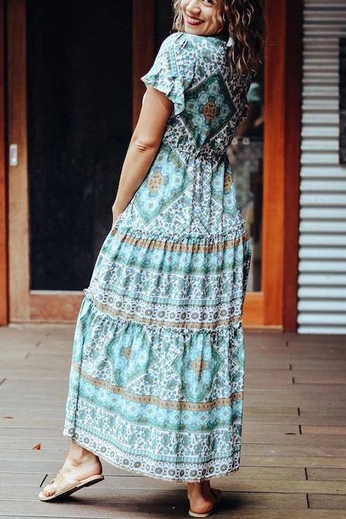 Boho Print Short Sleeve Maxi Dress