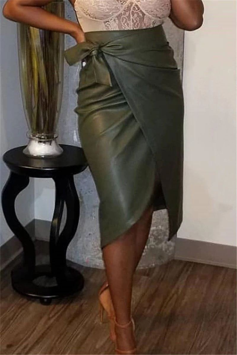 High Waist Solid Color Wrap PU Skirt