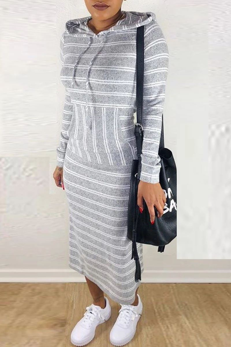 Hooded Collar Stripe Print Long Sleeve Dress