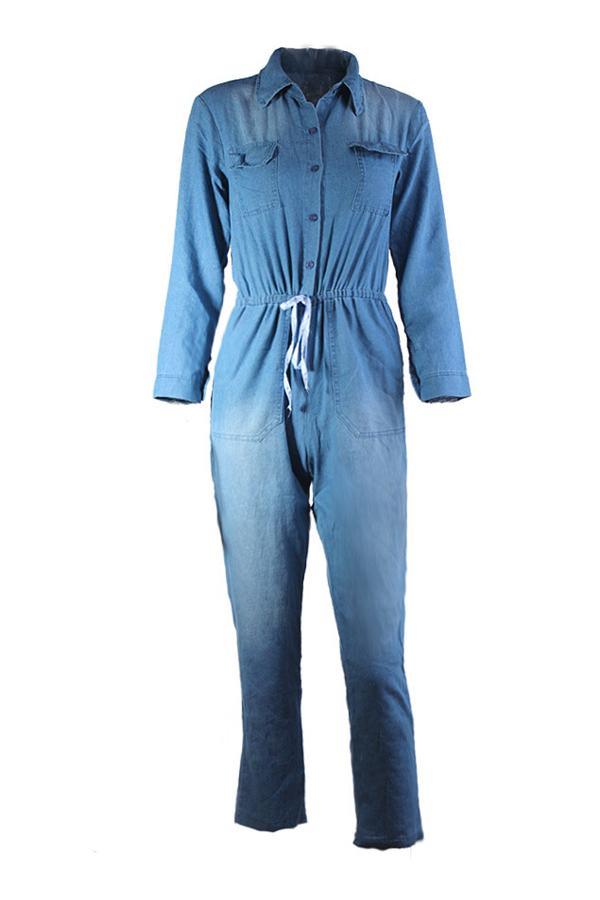 Button Pockets Drawstring Denim Jumpsuit