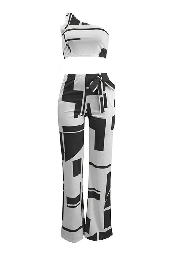 Geometric One Shoulder Knot Pants Set