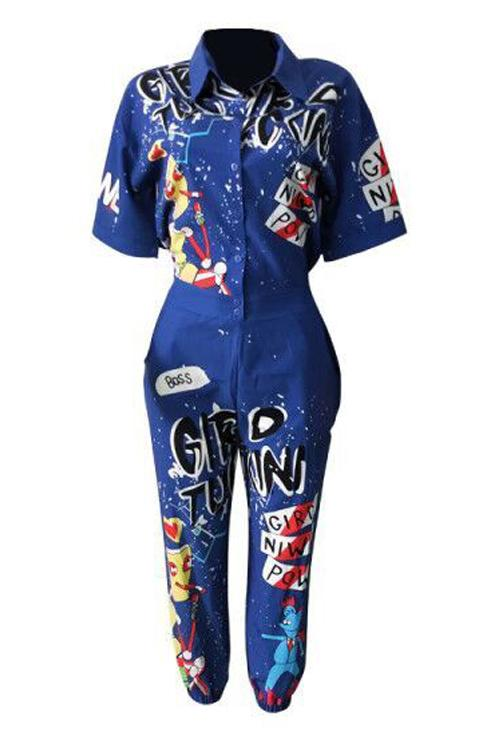 Cartoon Letter Printing Jumpsuits