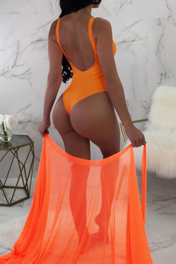 Solid One Pices Swimsuit With Cover Up