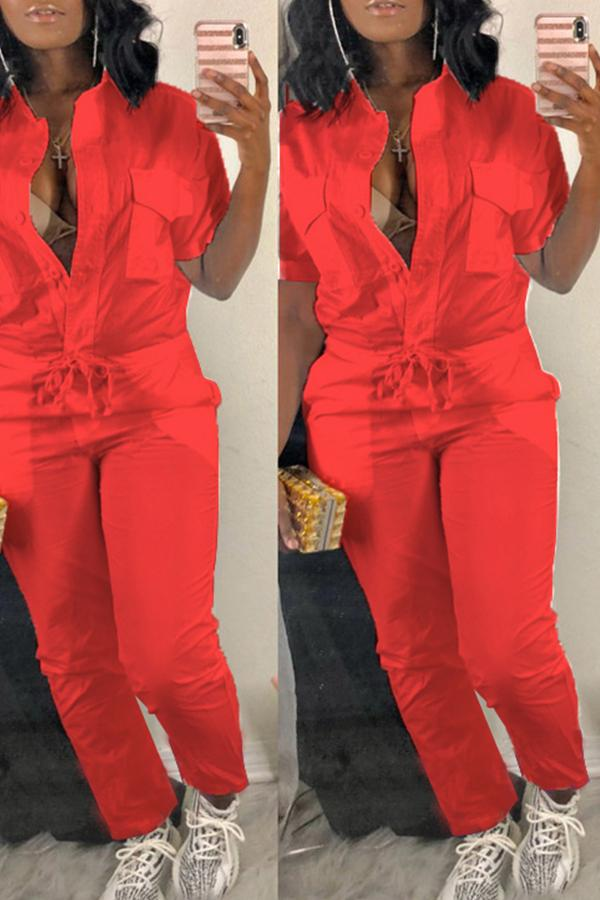 Pockets Drawstring Jumpsuit