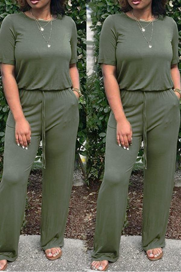 Drawstring Short Sleeve Jumpsuit