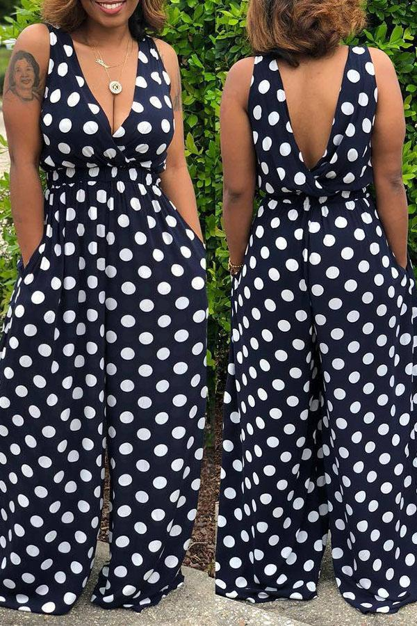 Dots Printed V Neck Jumpsuit