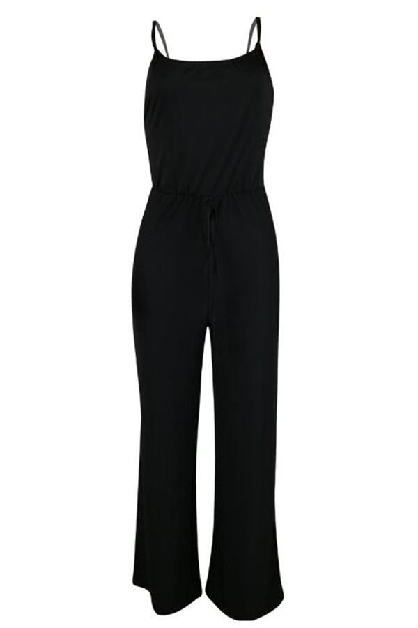 Loose Strap Drawstring wide leg Jumpsuit