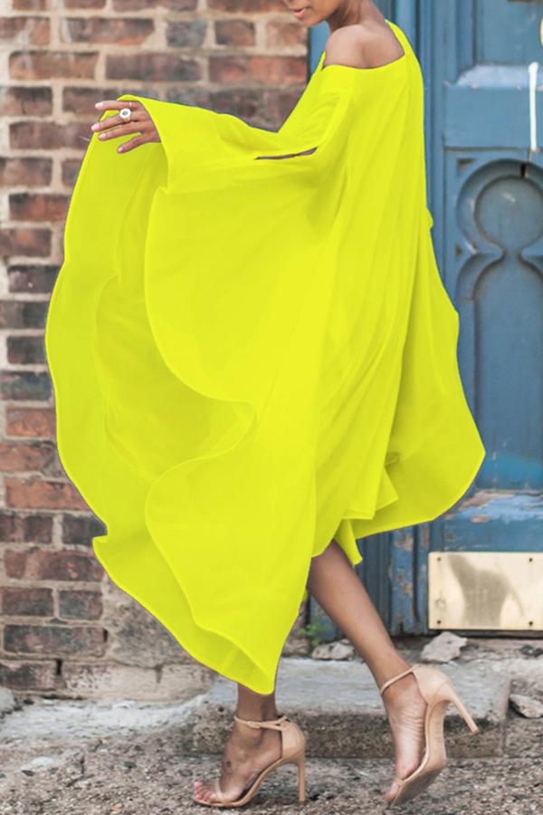 Bat Sleeve Asymmetrical Chiffon Mid Calf Dress