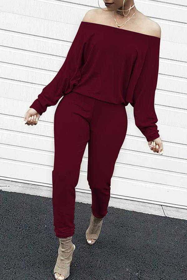 Off Shoulder Batwing Sleeves Jumpsuits