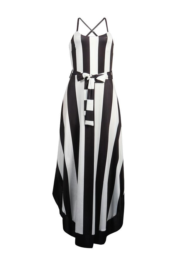 Striped Knot Slip A Line Dress