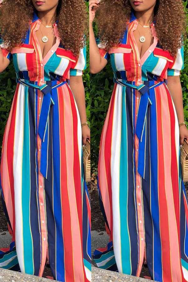 Pockets Lace Up Striped Floor Length Dress