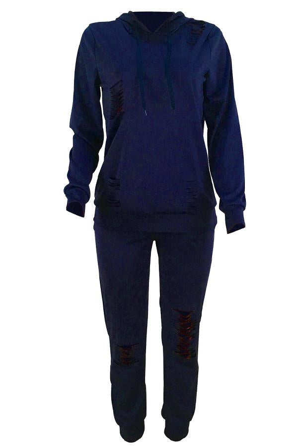 Broken Holes Blending Hoodie Pants Set