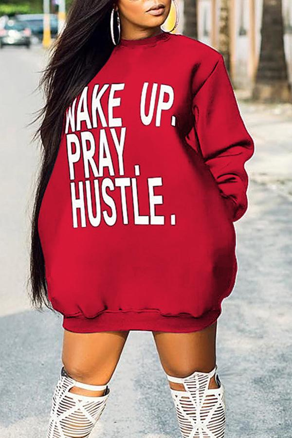 Letters Print Long Sleeve Hoodie Dress