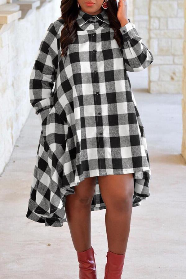 Grids Printed Swallow Shirt Dress