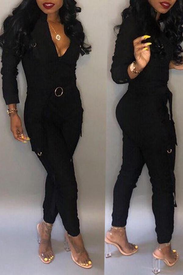 Pockets V Neck Skinny Jumpsuit