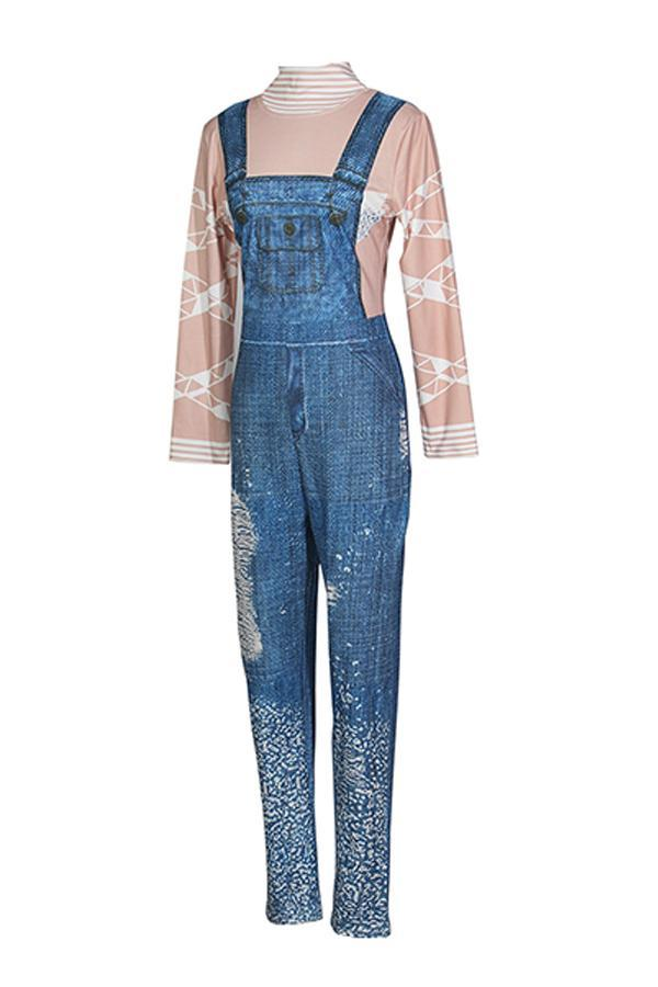 Diamond Decorative Ripped Denim Jumpsuit