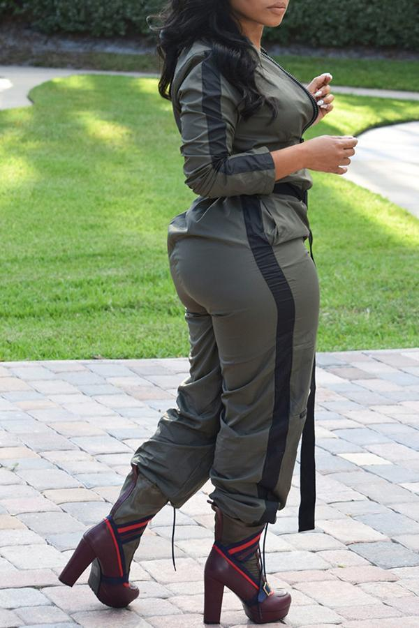 Long Sleeves Zipper Jumpsuit