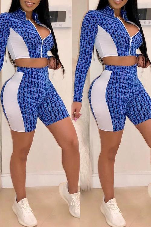 Print Zipper Shorts Set