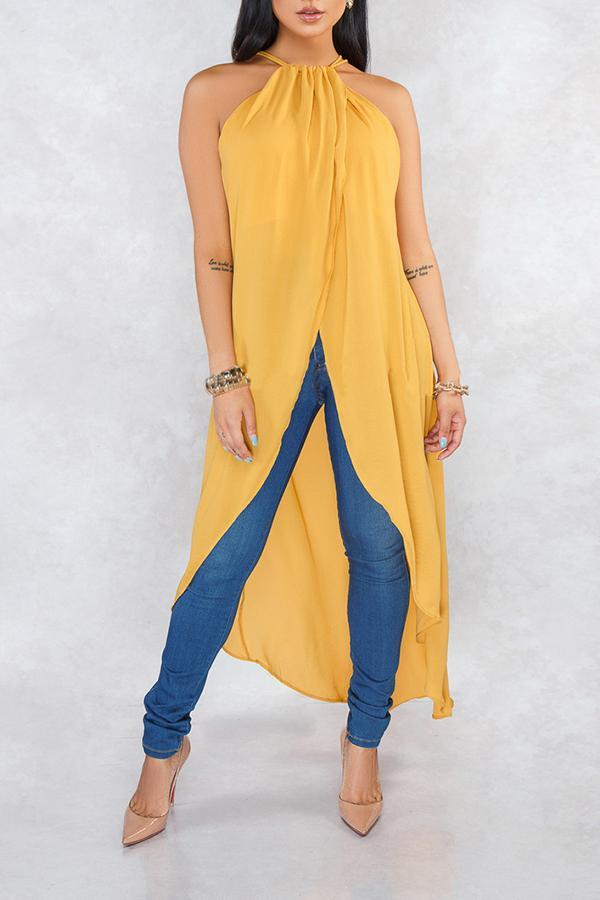 Halter Neck Asymmetrical Blouse