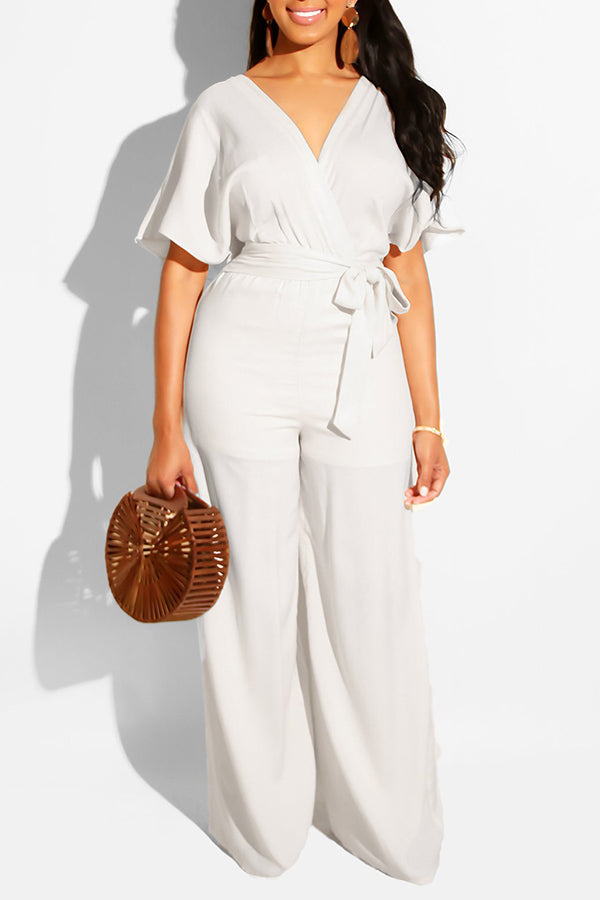 V Neck Lace Up Half Sleeve Jumpsuit