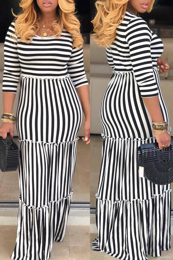 Stripe Short Sleeve Maxi Dress