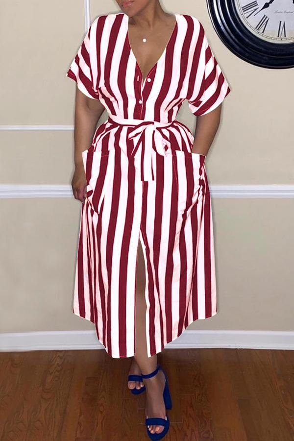 Stripe Button Belted Dress